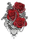 Brazo De Piedras Preciosas De Flores 15X21cm-10Pcs Tatuaje De Brazo Grande De Arte Corporal Para Hombros Realistas Impermeables Pecho Piernas Cuerpo Falso Brazo Pecho Hombro Tatuajes