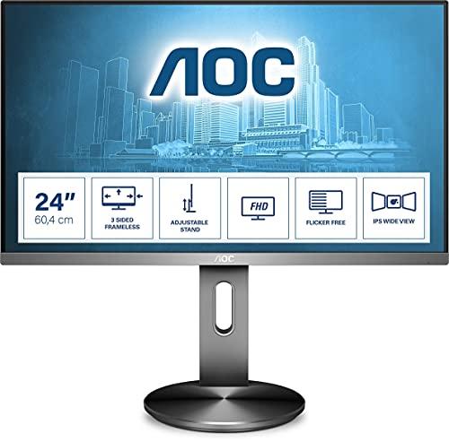 AOC I2490PXQU - 24 Inch FHD Monitor, 60Hz, 4ms, IPS, Speakers, Frameless...