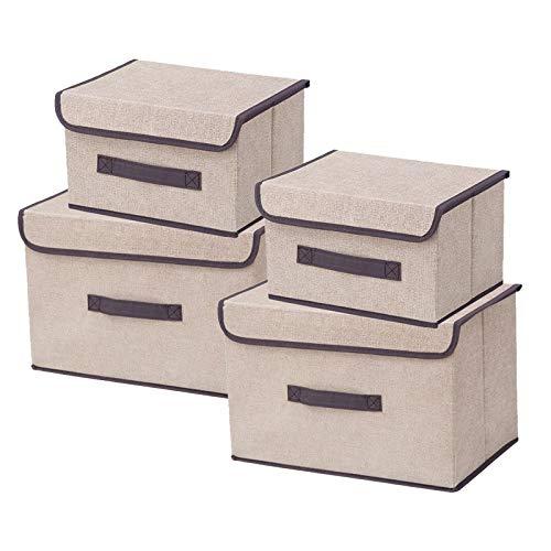 Socluer Cajas Almacenaje con Tapa, Juego de 4 Cajas Organizadoras Plegable, Cestas con Tapas y Asas Caja de Almacenamiento para estantes Contenedor de Ropa