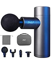 2NLF Massage Gun,Portable 4 Speeds Deep Tissue Mini Muscle Electric Massager Gun for release Muscle pain,Cordless Handheld Percussion Massager Portable case with 8 Heads,for Gift(Grey)