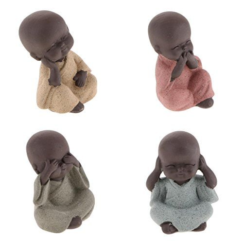 joyMerit Buddha Statue Monk Figurine, Set of 4 Buddhist Monk Statue, Ceramic Cute Wise Monks, Hear See Speak No Evil Statues, Wealth Lucky Figurine Car Decor