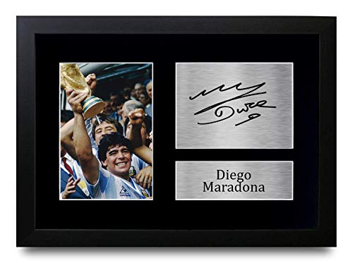 HWC Trading Diego Maradona A4 Incorniciato Firmato Regalo Visualizzazione delle Foto Print Immagine Autografo Stampato per Argentina Tifosi di Calcio