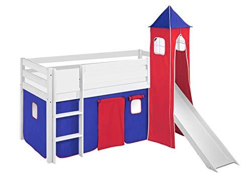 Lilokids Lit Mezzanine JELLE Bleu-Rouge - lit d'enfant Blanc - avec Toboggan, Tour et Rideau - lit 90x190 cm