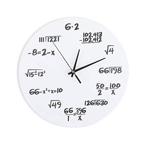 Fdit Reloj de Pared de Acrílico Matemático Creativo Que Dibuja Decoración de Reloj de Pared para Aula de Casa Silenciosa Socialme-EU(Blanco)