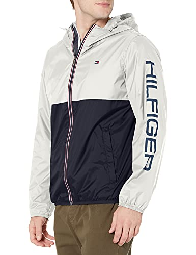 Tommy Hilfiger Men's Lightweight Active Water Resistant Hooded Rain Jacket, Ice/Navy Colorblock, XXX-Large