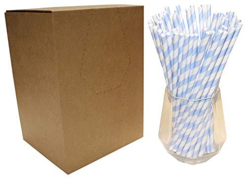 Cannucce di Carta a Righe Bianche e Blu (6mm x 200mm) - Confezione da 500 - Cannucce di Carta Biodegradabili, Ecologiche, Altamente Resistenti, Adatte per Tutte le Occasioni