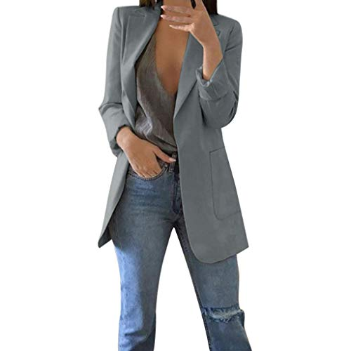 DONTAL Women Coat Solid Open Front Pockets Cardigan Formal Suit Long Sleeve Blouse TOP Gray