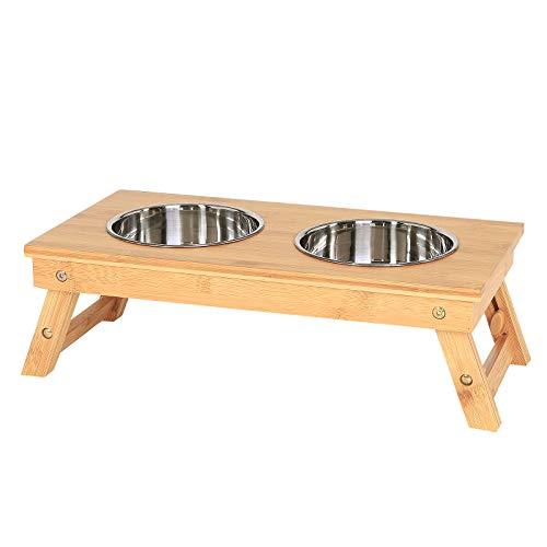 lionto by dibea Comedero perros bambú comedero doble regulable comedero mascotas dispensador de pienso