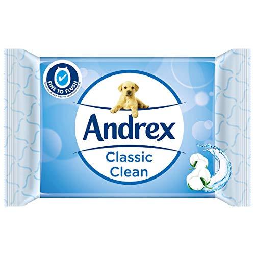 Andrex Klasyczne czyste umywalki, wilgotne chusteczki toaletowe, wolne od plastiku i biodegradowalne