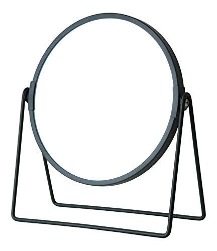 Miroir double face grossissant x 3 gris rond chromé sur pied