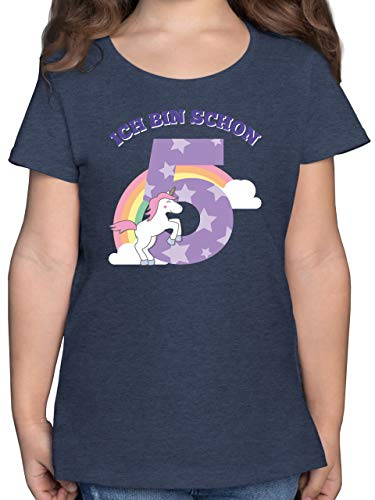 Geburtstag Kind - Ich Bin Schon 5 Einhorn - 116 (5/6 Jahre) - Dunkelblau Meliert - 5. Geburtstag mädchen - F131K - Mädchen Kinder T-Shirt