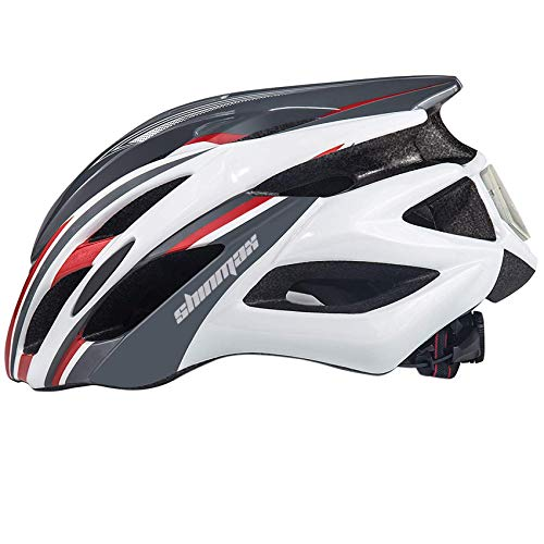 Shinmax Bicycle Helmet, LED Held Light, Cycling Helmet, Simple Helmet, Ultra Lightweight, High Rigidity, 22 Ventilation Holes, Removable Parasol, Size Adjustable, CPSC Certified, for Head Protection, For Skateboards, Kickboards, Inline Skating, BMX, MTB, and Other Kids/Adults 22.4 - 24.4 inches (57 - 62 cm), S/M/L/XL (Gray Red)