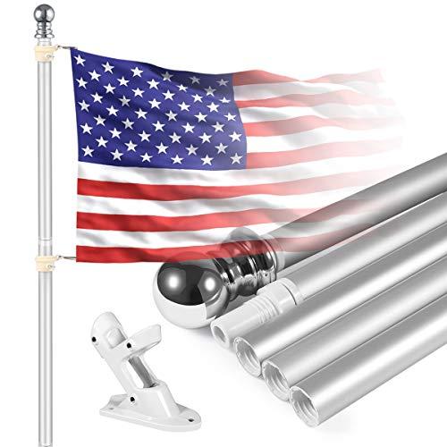 GOFOIT 2021 Fahnenmast-Set, extra dick, robust, Aluminium, Teleskop-Fahnenmast für den Außenbereich, große Fahnenmast mit 3 x 5 amerikanische Flagge für Wohnen, Hof oder Gewerbe, Silber