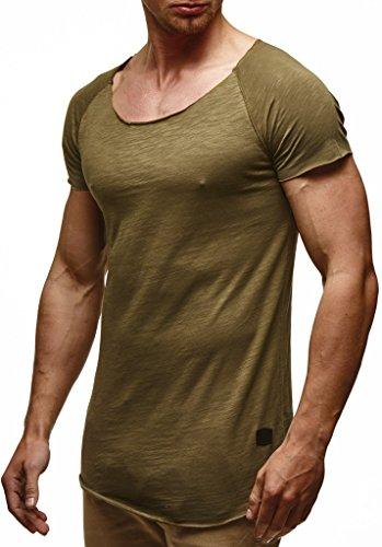 Leif Nelson Herren Sommer T-Shirt Rundhals-Ausschnitt Slim Fit Baumwolle-Anteil Moderner Männer T-Shirt Crew Neck Hoodie-Sweatshirt Kurzarm lang LN6340N Khaki Small