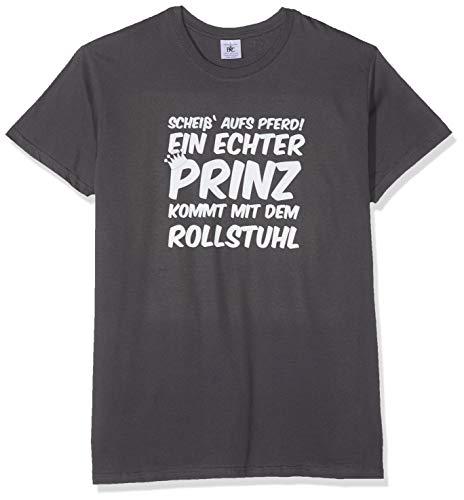TEXLAB - Een echte prs komt met de rolstoel - heren T-shirt, maat L, grijs