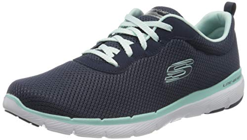 Skechers Flex Appeal 3.0-First Insight, Zapatillas Mujer, Azul (NVAQ Black Mesh/Trim), 38 EU