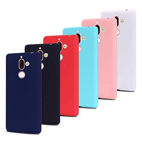Leton 6X Funda Nokia 7 Plus Silicona Suave Flexible TPU Móvil Carcasa Nokia 7 Plus Delgado Gel Candy Goma Cubierta Case Ultrafina Protectora Bumper Negro Azul Rojo Rosa Verde Blanco