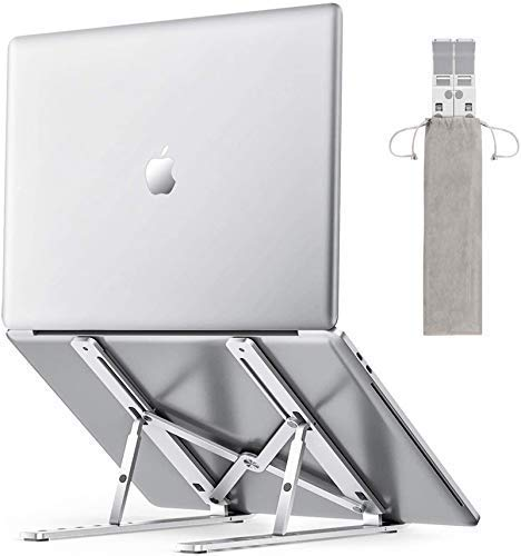 Aluminium Laptop Stand | 7 Position Adjustable Foldable Metal Alloy Stand in Silver