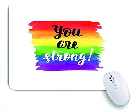 QINCO Gaming Mouse Pad Rutschfeste Gummibasis,Sie sind stark inspirierend Gay Pride Poster mit Aquarell Regenbogen Spektrum Flagge Pinsel Schriftzug,für Computer Laptop Office Desk,240 x 200mm