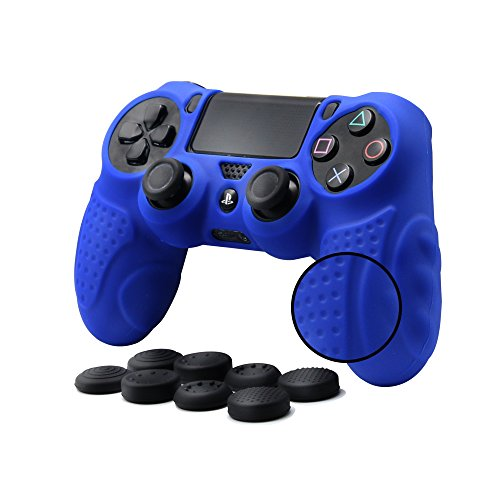 CHINFAI PS4 Controller DualShock4 Skin Grip Anti-Slip Silicone Cover Protector Case for Sony PS4/PS4 Slim/PS4 Pro Controller with 8 Thumb Grips (Blue)