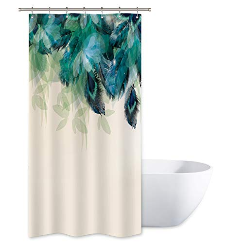 Riyidecor Stall Watercolor Peacock Feather Shower Curtain 36Wx72H Inch Teal Turquoise Floral Green Leaf Bathroom Home Decor Fabric Waterproof Bathtub 7 Pack Plastic Hook