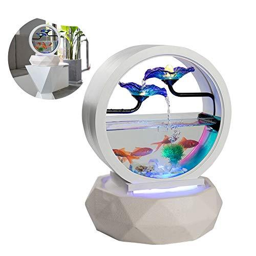 MC.PIG Peceras de cristal Tipo de hoja de loto redondo Adornos de agua de tanque de peces Cerámica Moderna Estilo europeo Salón Interior Decoraciones para el hogar Tanque de peces de vidrio auspicioso