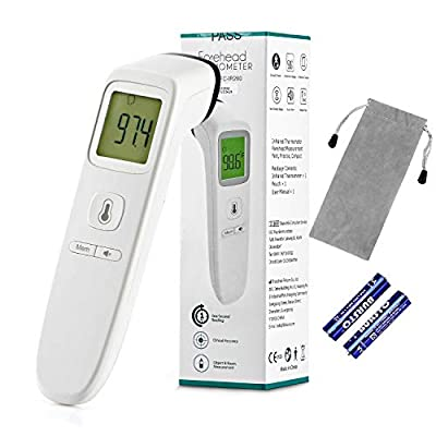 TODOLOR Forehead Thermometer, Digital Infrared Non-Contact Temporal with Instant Accurate Reading,Fever Alarm and Memory Function – Ideal for Babies, Infants, Children, Adults, Indoor, Outdoor (White)