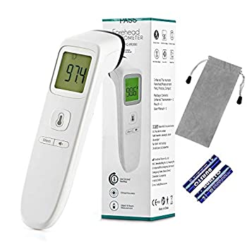TODOLOR Forehead Thermometer Digital Infrared Non-Contact Temporal with Instant Accurate Reading,Fever Alarm and Memory Function – Ideal for Babies Infants Children Adults Indoor Outdoor  White