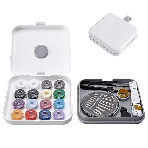 Kit Cucito Magnetica, Mini Sewing Machine Kit Organizer Box Set Travel, Kit Aghi Cucito Professionale Bambina DIY per Viaggio Casa, Piccolo Accessori da Cucire Scatola Portafilo Portatile (Bianco)