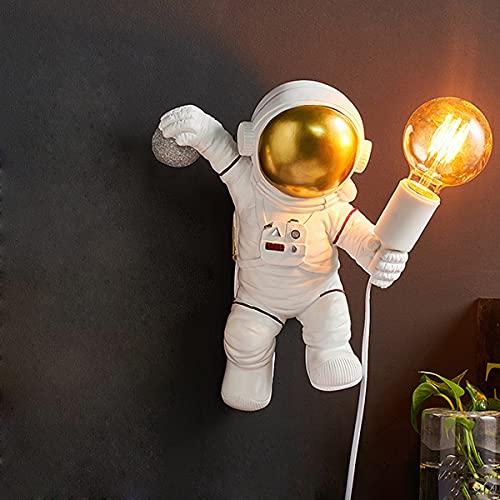 QJUZO Lámpara De Pared para Niños con Enchufe E Interruptor, Moderna Aplique De Pared De Astronauta con Cable De 1,5 M, E27 Decorativa Blanca Iluminación De Pared LED Interiores para Niños Y Niñas