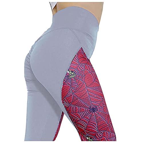 Leggings de cintura alta con estampado de tela de araña para mujer, para gimnasio, correr, entrenamiento, control de barriga, pantalones de yoga