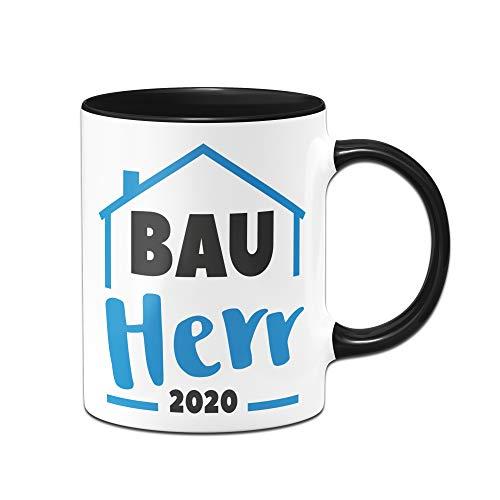 Tassenbrennerei Tasse mit Spruch Bauherr Geschenk zum Richtfest, Einweihung, Hausbau - Bauherrin (Schwarz, 2020)