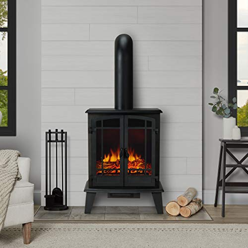 Real Flame Foster Stove Electric Fireplace, Black