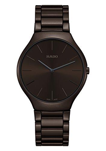 Rado True Thinline Colors R27269302 - Reloj de pulsera para hombre, esfera marrón