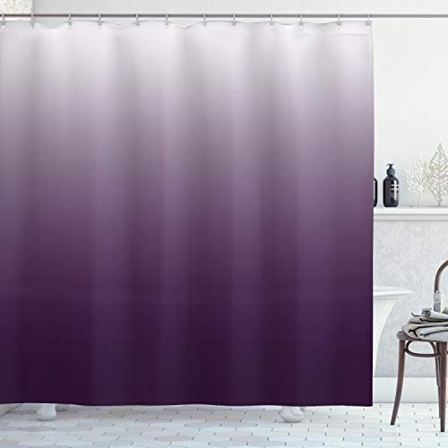 OMBRE Duschvorhang von ambesonne, Gradient Harmony trendige lebendigen Farben Themen-modernes Design Artwork, Stoff Badezimmer Decor Set mit Haken, 190,5cm lang, aubergine weiß