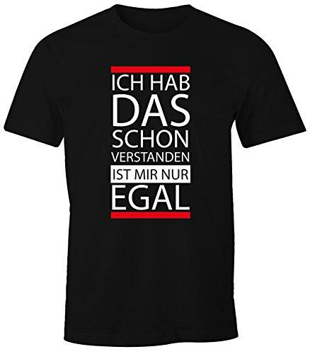 MoonWorks lustiges Herren T-Shirt - Ich hab das Schon verstanden, ist Mir nur egal - Fun-Shirt schwarz XL