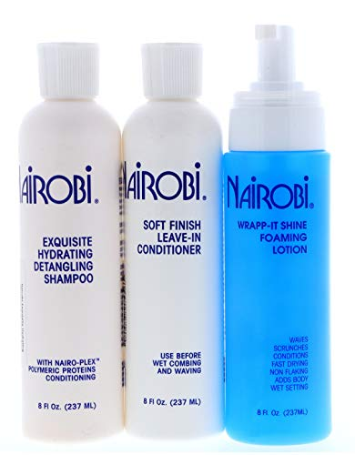 """Nairobi Exquisite Hydrating Detangling Shampoo, Soft Finish Leave-in Conditioner, Wrapp-it Shine Foaming Lotion 8oz """"SET"""""""