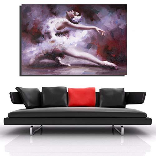 ZWBBO Canvas schilderij Decoratief schilderij Meisjes Poster Ballerina afdrukken HD elegante danseres Meisjes Kunstst Canvas voor de woonkamer muur wooncultuur