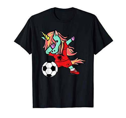 Dabbing Unicorn Albania Soccer Albanian Flag Football Lovers T-Shirt