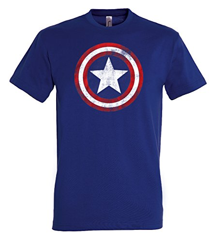 TRVPPY Herren T-Shirt Modell Vintage Captain America, Navyblau, XL
