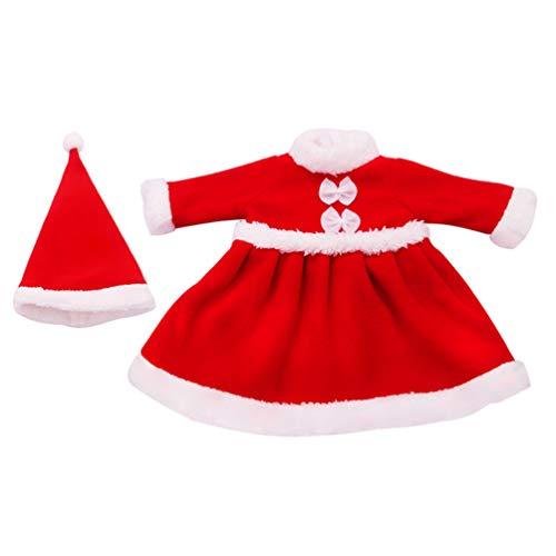 NUOBESTY 2Pcs Weihnachtspuppe Kleidung Setzt mit Puppenhut Santa Weihnachtskleid Outfit für Mädchen Reise Mädchen Puppen Kleiderschrank Makeover Puppenhaus (Rot)