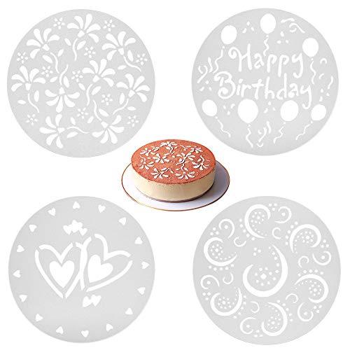KSTEU Kuchen Schablonen ,4 Arten Blume Herz Spray Schablonen Geburtstag Kuchenform Dekorieren , Kuchen Dekoration Tortenverzierung Torten Schablonen Bäckerei Werkzeuge