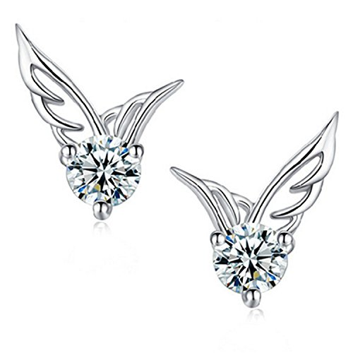 ELEGANCE PARISIENNE Modische Flügel Ohrringe | SWAROVSKI ELEMENTS | Silber plattiert | Damen Frauen Kinder | Fashion Elegante Kristall Ohrstecker Geschenk Wing