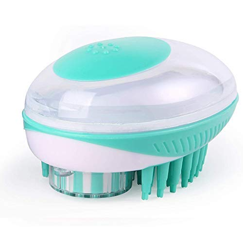 2 in 1 Pet Brush Bath Massage Brush,Shampoo Dispenser for Pet Grooming Deshedding Soft Silicone Bristles Perfect for Washing,Shampooing, Massaging Long,Short Hair, Remove Loose Fur (Green)