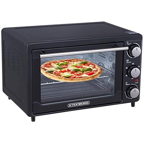 Mini Backofen 25 Liter | Pizza-Ofen | 3in1 Backofen mit Umluft | Minibackofen | Innenbeleuchtung | herausnehmbares Krümelblech | Ober-/Unterhitze | 60 min.Timer |