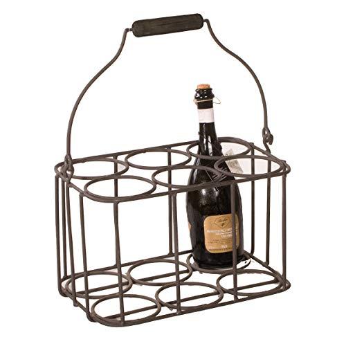 Varia Living Flaschenkorb mit Griff Sandrigo aus Metall in schwarz 6 Flaschen | moderner Flaschenträger | Flaschenhalter Aufbewahrung | wertige Flaschentasche für viele Größen