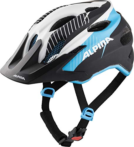 Alpina Jungen Carapax JR. Fahrradhelm, White-Black Blue, 51-56 cm