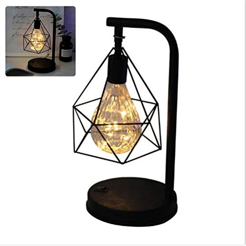 Hollow Diamond Shape Retro Iron Art Minimalist Lámpara de mesa lámpara de lectura alimentada con batería Lámpara de noche para iluminación de mesilla de noche de dormitorio