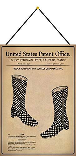 Metalen bord 20x30cm gebogen met koord patent laarzen met versiering 2001 deco geschenk bord