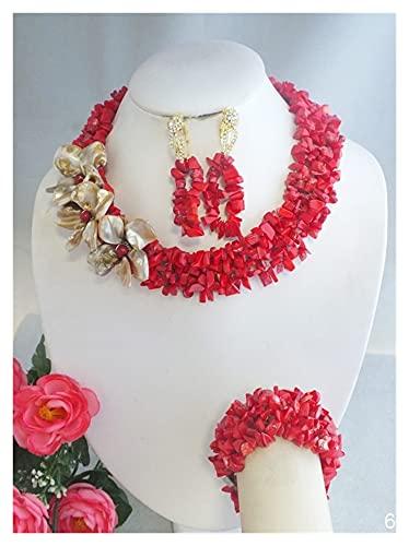yqs Conjunto de Joyas Hermosa joyería de Boda de Cuentas de Coral Rojo con Collar de Flores de cáscara 18'